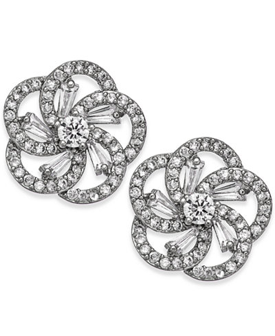 Charter Club Silver-Tone Crystal Flower Stud Earrings, Created for Macy's