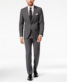 HUGO Mens SlimFit Dark Charcoal Plaid Suit