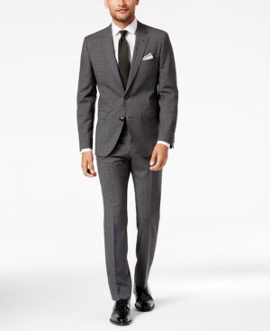 Hugo Boss Men's Slim-Fit Dark Charcoal Plaid Suit thumbnail