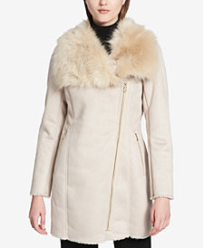 Calvin Klein Petite Asymmetrical Faux-Fur-Collar Coat