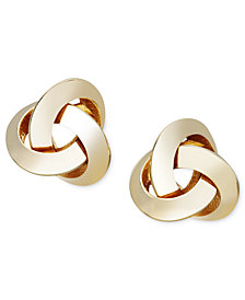 14k Gold Earrings, Knot Stud