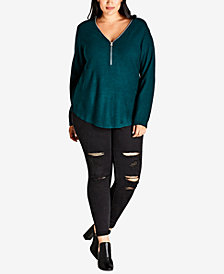 City Chic Trendy Plus Size Zipper-Neck High-Low Sweater