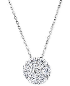 Diamond Flower Cluster Pendant Necklace in 14k White Gold (1/2 ct. t.w.)