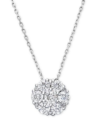 Diamond flower cluster pendant necklace in 14k white gold 12 ct diamond flower cluster pendant necklace in 14k white gold 12 ct tw aloadofball Gallery