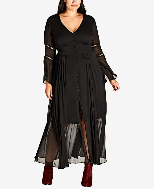City Chic Trendy Plus Size Button-Front Illusion Maxi Dress ...