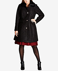 City Chic Trendy Plus Size Faux-Fur-Trim Textured Walker Coat