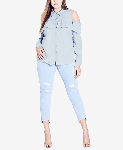 City Chic Trendy Plus Size Cold-Shoulder Chambray Shirt