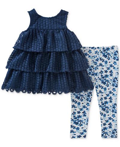 Calvin Klein 2-Pc. Tiered Tunic & Floral-Print Leggings Set, Baby Girls