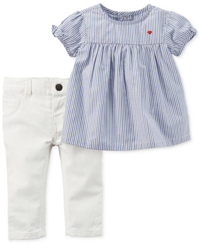 Carter's 2-Pc. Striped Top and Jeans Set, Baby Girls