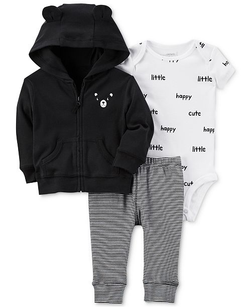 4a9b63fb Carter's 3-Pc. Cotton Bear Hoodie, Printed Bodysuit & Striped Pants ...