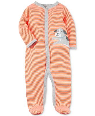 Carter's 1-Pc. Striped Dog Cotton Footed Coverall, Baby Boys