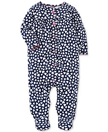 Carter's Baby Girls Heart-Print Cotton Footed Coverall
