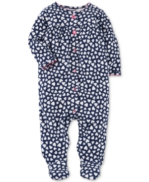 Carters HeartPrint Cotton Footed Coverall Baby Girls (024 months)