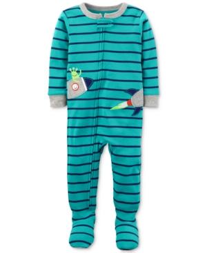 Carters 1Pc Striped Rocket Footed Pajamas Baby Boys (024 months)