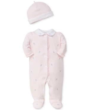 Little Me 2Pc Embroidered Rose Cotton Coverall  Hat Set Baby Girls (024 months)