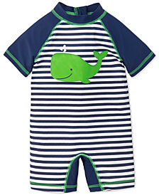 Little Me Striped Whale Rash Guard Swimsuit, Baby Boys