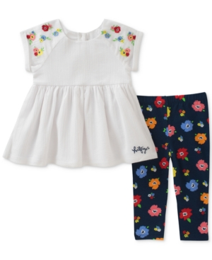 Tommy Hilfiger 2Pc Embroidered Tunic  FloralPrint Leggings Set Baby Girls (024 months)