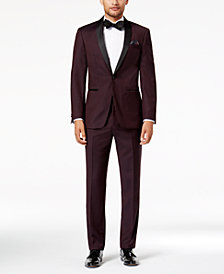 Tallia Men's Slim-Fit Burgundy Solid Twill Wool Suit Separates