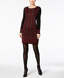 NY Collection Petite Metallic Jacquard Sweater Dress