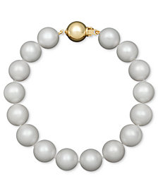Belle de Mer AA+ Cultured Freshwater Pearl Strand Bracelet (10-1/2-11-1/2mm) in 14k Gold