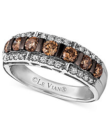 Le Vian Diamond Chocolate Diamond and White Diamond Band (1-1/6 ct. t.w.) in 14k White Gold