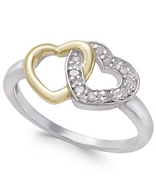 Diamond Two-Tone Interwined Heart Ring (1/10 ct. t.w) in Sterling Silver and 14k Gold-Plate