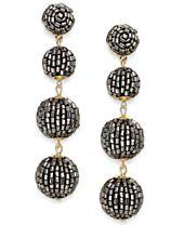 I.N.C. Gold-Tone Beaded Pom Pom Drop Earrings, Created for Macy's