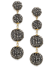 I.N.C. Gold-Tone Beaded Pom Pom Drop Earrings, Created for Macy's