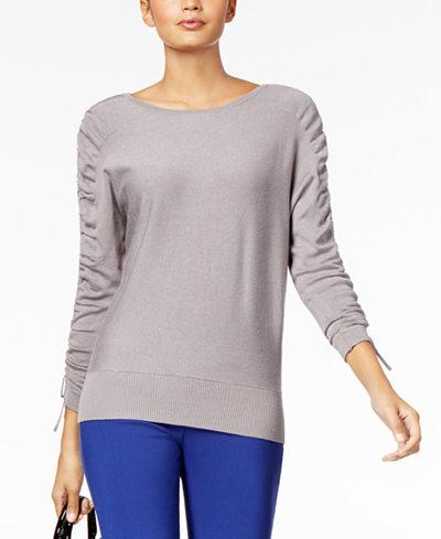 Alfani Drawstring Tie-Sleeve Sweater, Created for Macy's