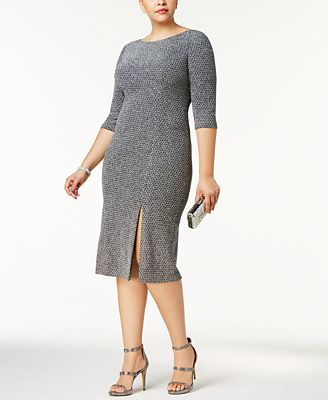 Adrianna Papell Plus Size Metallic Knit Dress
