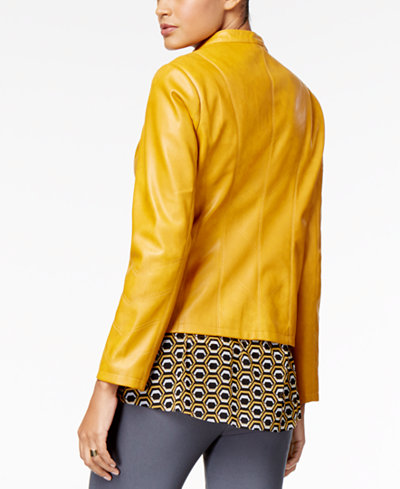 Alfani Petite Faux-Leather Band-Collar Jacket, Created for Macy's
