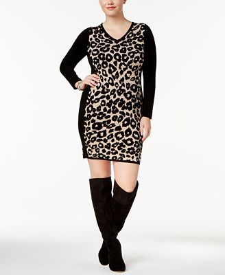 Say What? Trendy Plus Size Leopard-Print Sweater Dress