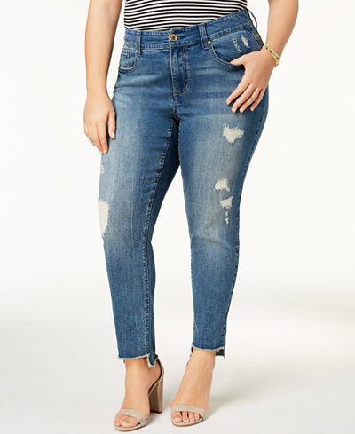 Seven7 Jeans Trendy Plus Size Step-Hem Distressed Skinny Jeans