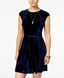 Juniors' Crushed Velvet Crochet Dress