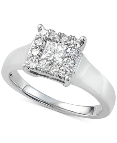 Diamond Sqare Cluster Engagement Ring (7/8 ct. t.w.) in 14k White Gold