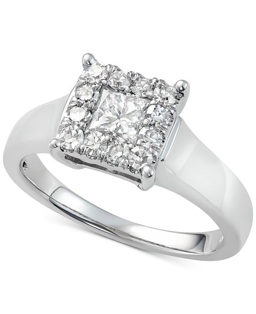 Macy's Diamond Sqare Cluster Engagement Ring (7/8 ct. t.w.) in 14k White Gold