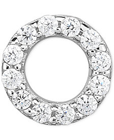 Diamond Accent Circle Single Stud Earring in 14k White Gold