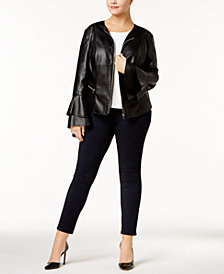 I.N.C. Plus Size Faux-Leather Jacket, Created for Macy's