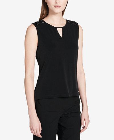 Calvin Klein Lace-Up Shoulder Jersey Shell, Regular & Petite