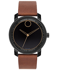 Movado Men's Swiss BOLD Cognac Leather Strap Watch 41mm