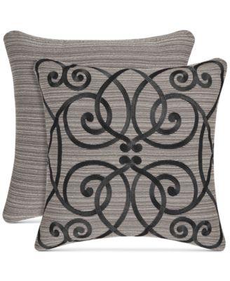 """Raffaella Graphite 18"""" Embroidered Square Decorative Pillow"""