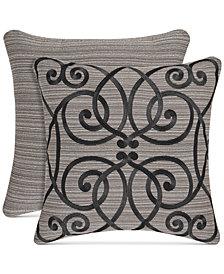 """J Queen New York Raffaella Graphite 18"""" Embroidered Square Decorative Pillow"""