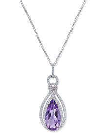 Amethyst (3 ct. t.w.) & White Topaz (1/2 ct. t.w.) Teardrop Pendant Necklace in Sterling Silver