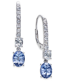 Tanzanite (2-3/4 ct. t.w.) & White Sapphire (1-3/8 ct. t.w.) Dangle Hoop Earrings in Sterling Silver