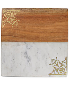 CLOSEOUT! Thirstystone Marble & Wood Serving Board with Gold-Tone Filigree Design