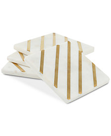 CLOSEOUT! Thirstystone White Marble & Metal Stripe Coasters, Set of 4