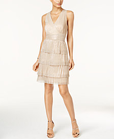 Connected Metallic Crinkle Tiered Halter Dress