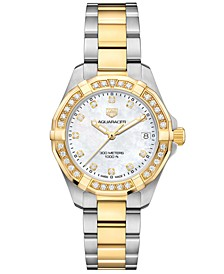 Women's Swiss Aquaracer Diamond (3/4 ct. t.w.) Stainless Steel & 18k Gold Bracelet Watch 32mm