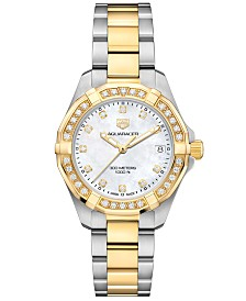 TAG Heuer Women's Swiss Aquaracer Diamond (3/4 ct. t.w.) Stainless Steel & 18k Gold Bracelet Watch 32mm