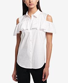 Calvin Klein Ruffled Cold-Shoulder Blouse